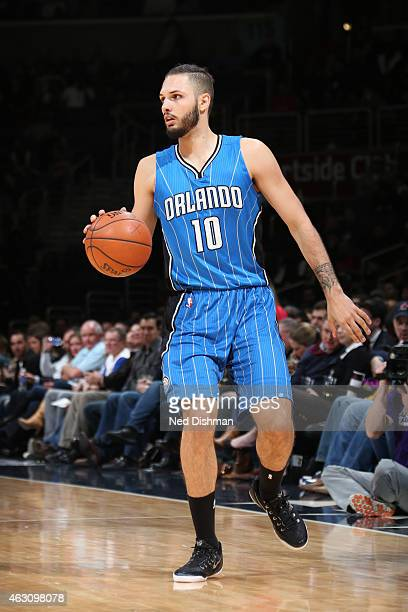 Evan Fournier of the Orlando Magic brings the ball up court against the Washington Wizards on February 9 2015 at the Verizon Center in Washington DC...