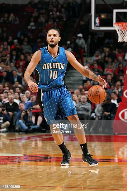 Evan Fournier of the Orlando Magic drives against the Chicago Bulls on November 4 2014 at the United Center in Chicago Illinois NOTE TO USER User...