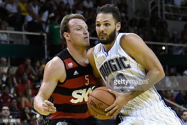 Evan Fournier of the Orlando Magic drives the ball against CR Flamengo during a NBA Global Games Rio 2015 match at HSBC Arena on October 17 2015 in...