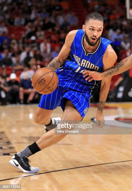 Evan Fournier of the Orlando Magic drives to the basket during a game against the Miami Heat at American Airlines Arena on February 13 2017 in Miami...