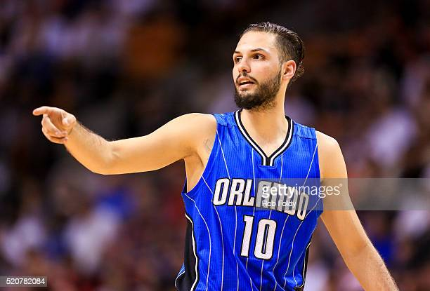 Evan Fournier of the Orlando Magic gestures during the game against the Miami Heat at the American Airlines Arena on April 10 2016 in Miami Florida...