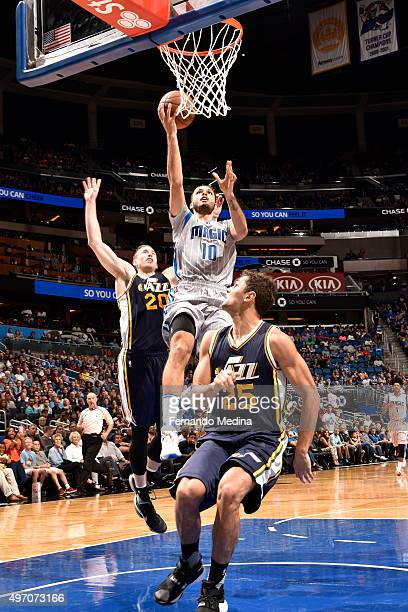 Evan Fournier of the Orlando Magic goes for the layup against the Utah Jazz during the game on November 13 2015 at Amway Center in Orlando Florida...