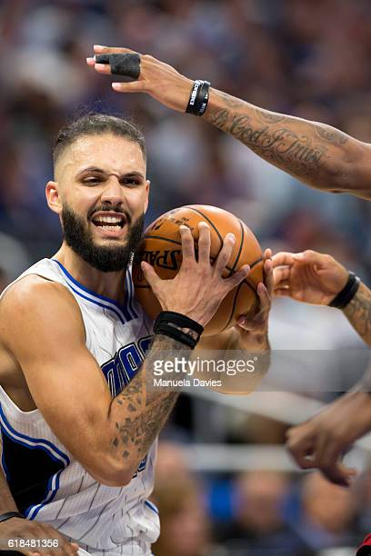 Evan Fournier of the Orlando Magic handles the ball against the Miami Heat on opening night on October 26 2016 at Amway Center in Orlando Florida...