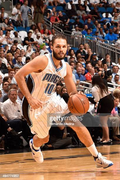 Evan Fournier of the Orlando Magic handles the ball against the Washington Wizards on October 28 2015 at Amway Center in Orlando Florida NOTE TO USER...