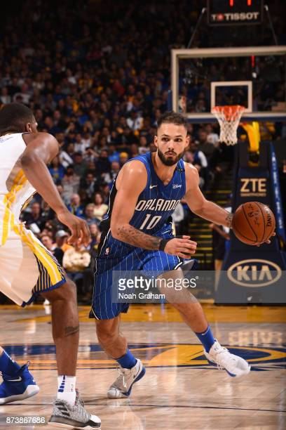 Evan Fournier of the Orlando Magic handles the ball against the Golden State Warriors on November 13 2017 at ORACLE Arena in Oakland California NOTE...