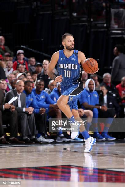 Evan Fournier of the Orlando Magic handles the ball against the Portland Trail Blazers on November 15 2017 at the Moda Center in Portland Oregon NOTE...