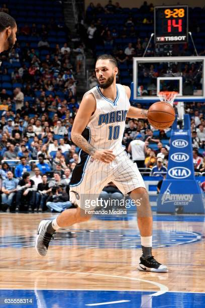 Evan Fournier of the Orlando Magic handles the ball against the San Antonio Spurs during the game on February 15 2017 at Amway Center in Orlando...