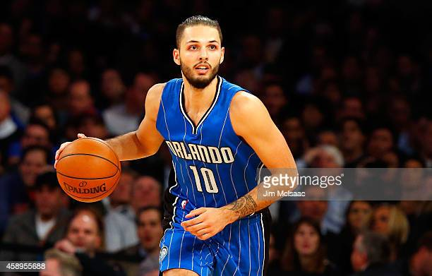 Evan Fournier of the Orlando Magic in action against the New York Knicks at Madison Square Garden on November 12 2014 in New York City The Magic...