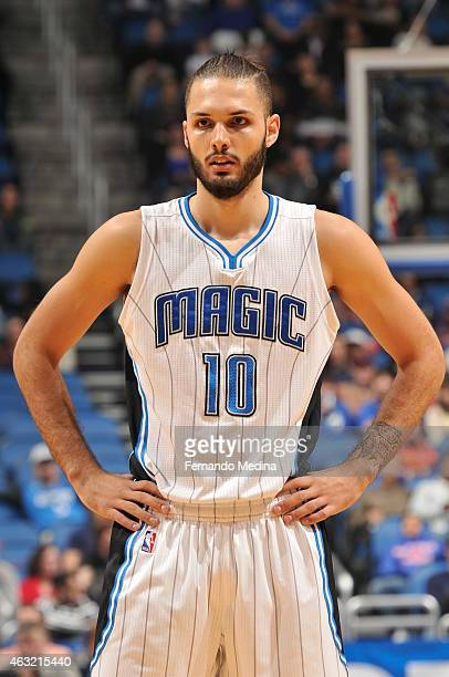 Evan Fournier of the Orlando Magic looks on during the game against the New York Knicks on February 11 2015 at Amway Center in Orlando Florida NOTE...