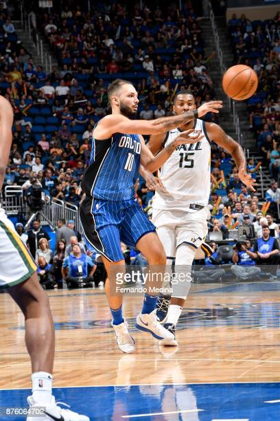 Evan Fournier of the Orlando Magic passes the ball against the Utah Jazz on November 18 2017 at Amway Center in Orlando Florida NOTE TO USER User...