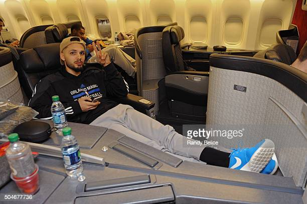 Evan Fournier of the Orlando Magic poses for a photo on the flight to as part of 2016 London Global Games on January 1 2016 in London England NOTE TO...