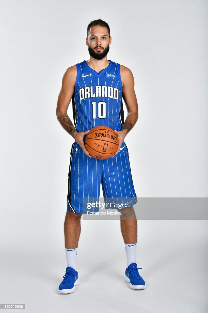 Evan Fournier #10 of the Orlando Magic poses for a portrait during Magic Media Day 2 on October 6, 2017 at Amway Center in Orlando, Florida.