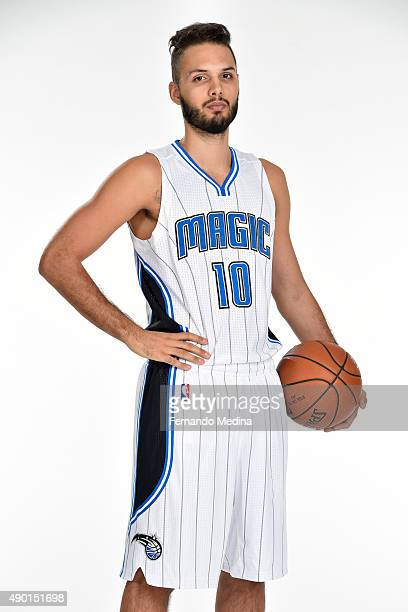 Evan Fournier of the Orlando Magic poses for a portrait during NBA Media Day on September 25 2015 at Amway Center in Orlando Florida NOTE TO USER...