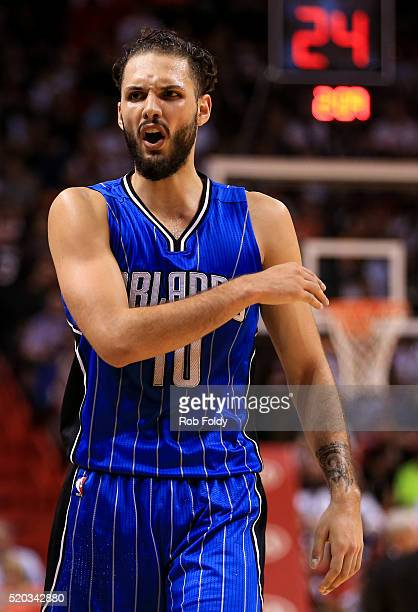 Evan Fournier of the Orlando Magic reacts during the game against the Miami Heat at the American Airlines Arena on April 10 2016 in Miami Florida The...