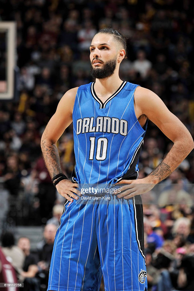 Evan Fournier #10 of the Orlando Magic reacts to a play against the Cleveland Cavaliers on October 29, 2016 at Quicken Loans Arena in Cleveland, Ohio.