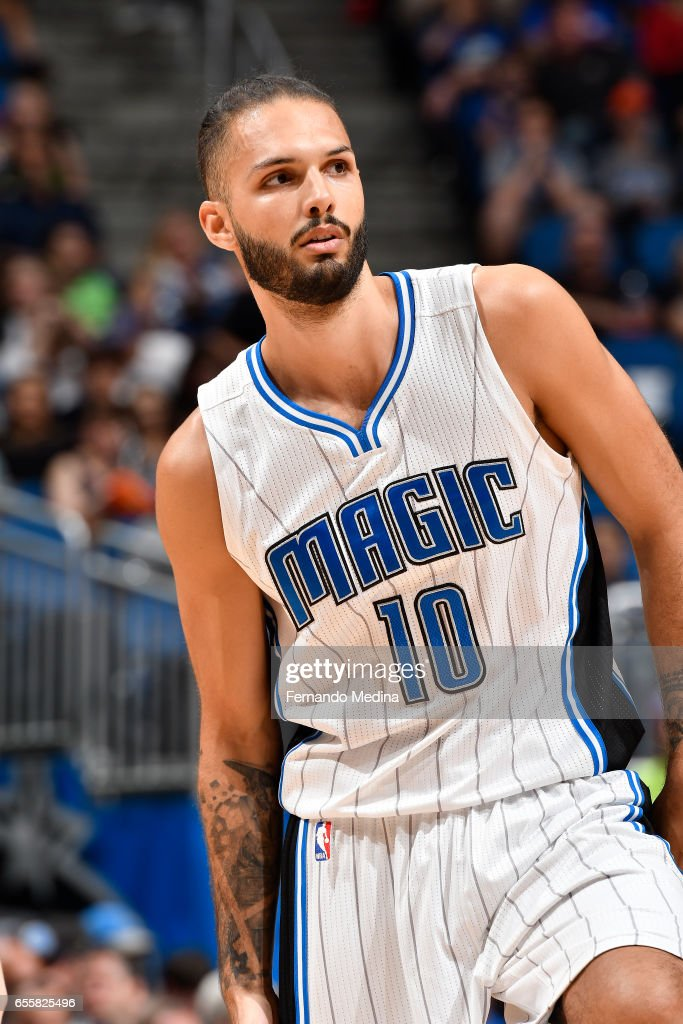 Evan Fournier #10 of the Orlando Magic reacts to a play against the Philadelphia 76ers during the game on March 20, 2017 at Amway Center in Orlando, Florida.