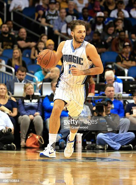 Evan Fournier of the Orlando Magic sets up the offense during the game against the Los Angeles Lakers at Amway Center on November 11 2015 in Orlando...