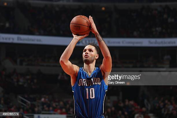 Evan Fournier of the Orlando Magic shoots a free throw against the Chicago Bulls on November 1 2015 at the United Center in Chicago Illinois NOTE TO...