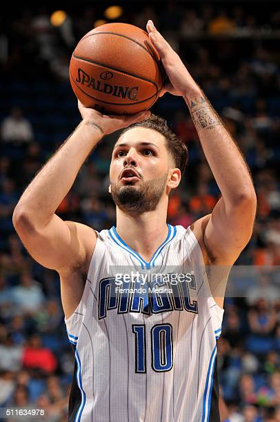 Evan Fournier of the Orlando Magic shoots a free throw against the Indiana Pacers on February 21 2016 at the Amway Center in Orlando Florida NOTE TO...
