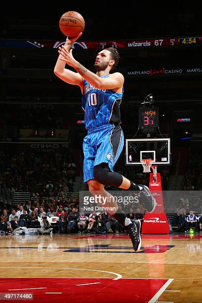 Evan Fournier of the Orlando Magic shoots against the Washington Wizards during the game on November 14 2015 at Verizon Center in Washington District...