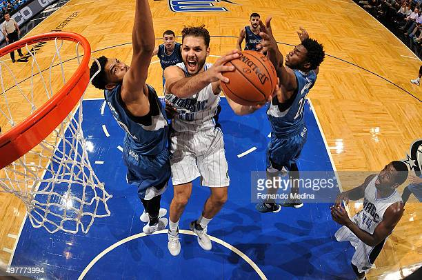 Evan Fournier of the Orlando Magic shoots the ball against the Minnesota Timberwolves on November 18 2015 at Amway Center in Orlando Florida NOTE TO...