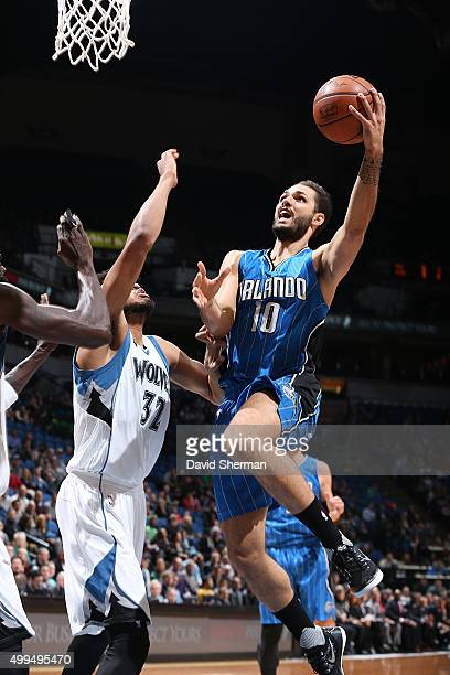 Evan Fournier of the Orlando Magic shoots the ball against the Minnesota Timberwolves on December 1 2015 at Target Center in Minneapolis Minnesota...
