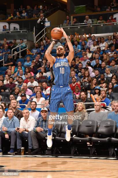 Evan Fournier of the Orlando Magic shoots the ball against the Utah Jazz on November 18 2017 at Amway Center in Orlando Florida NOTE TO USER User...