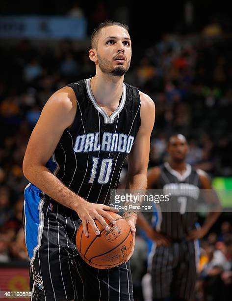 Evan Fournier of the Orlando Magic takes a free throw against the Denver Nuggets at Pepsi Center on January 7 2015 in Denver Colorado The Nuggets...