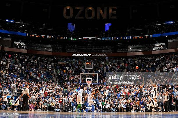 Evan Fournier of the Orlando Magic takes the go ahead three pointer to win the game against the Minnesota Timberwolves on November 18 2015 at Amway...