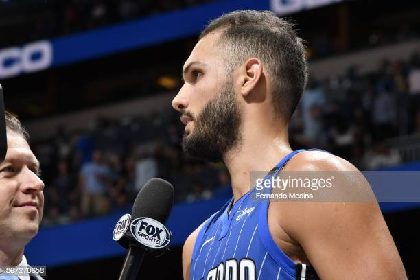 Evan Fournier of the Orlando Magic talks to the media during the game against the San Antonio Spurs on October 27 2017 at Amway Center in Orlando...