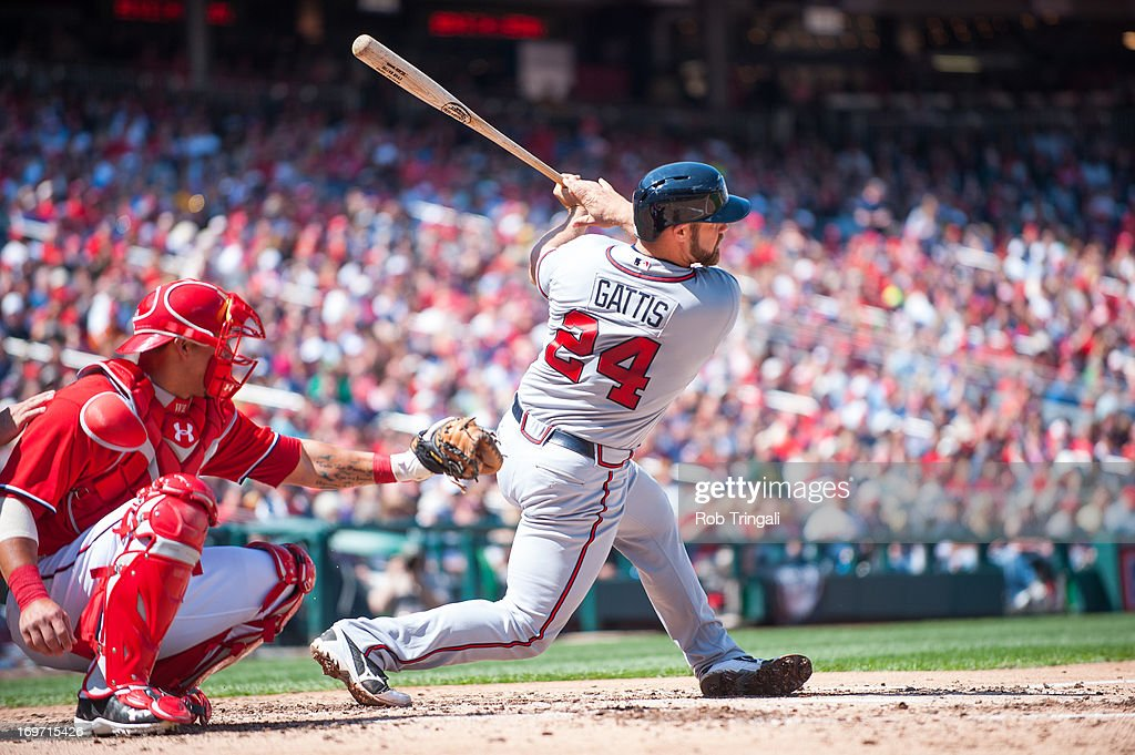 <a gi-track='captionPersonalityLinkClicked' href=/galleries/search?phrase=Evan+Gattis&family=editorial&specificpeople=8977937 ng-click='$event.stopPropagation()'>Evan Gattis</a> #24 of the Atlanta Braves bats during the game against the Washington Nationals on Saturday, April 13, 2013 at Nationals Park in Washington, D.C.
