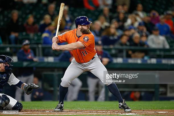 Evan Gattis of the Houston Astros bats against the Seattle Mariners at Safeco Field on September 28 2015 in Seattle Washington