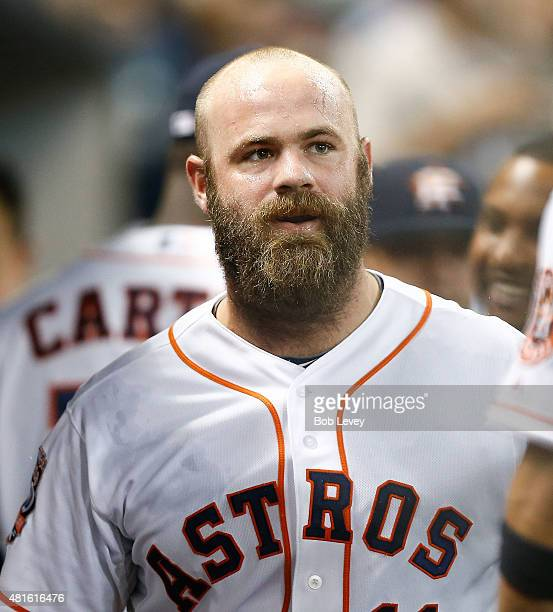 Evan Gattis of the Houston Astros hits a home run in the fourth inning against the Boston Red Sox at Minute Maid Park on July 22 2015 in Houston Texas