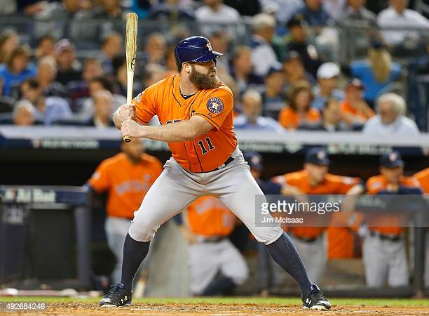 Evan Gattis of the Houston Astros in action against the New York Yankees during the American League Wild Card Game at Yankee Stadium on October 6...