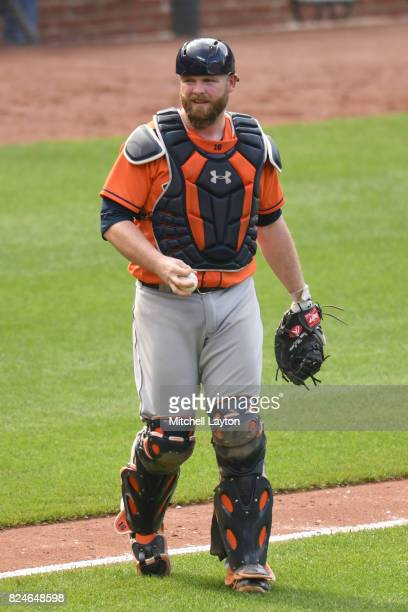 Evan Gattis of the Houston Astros looks on during a baseball game against the Baltimore Orioles at Oriole Park at Camden Yards on July 23 2017 in...