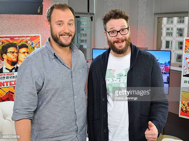 Evan Goldberg and Seth Rogen attend POPSUGAR studios to promote their new movie 'The Interview' on November 18 2014 in San Francisco California