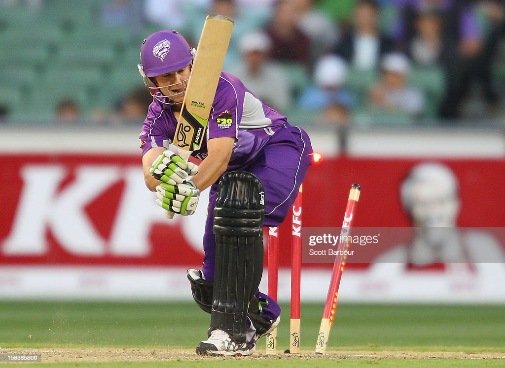 Evan Gulbis of the Hurricanes is bowled out by Lasith Malinga of the Stars during the Big Bash League match between the Melbourne Stars and the Hobart Hurricanes at the Melbourne Cricket Ground on December 15, 2012 in Melbourne, Australia.