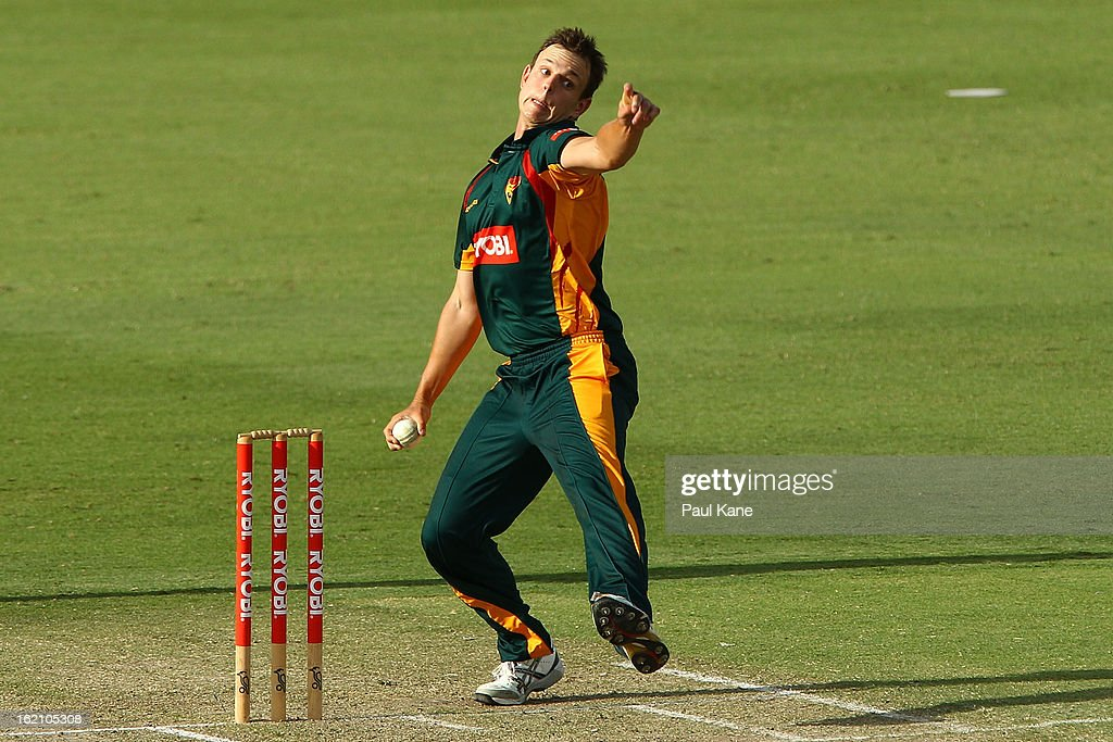 Evan Gulbis of the Tigers bowls during the Ryobi One Day Cup match between the Western Australia Warriors and the Tasmanian Tigers at the WACA on February 19, 2013 in Perth, Australia.