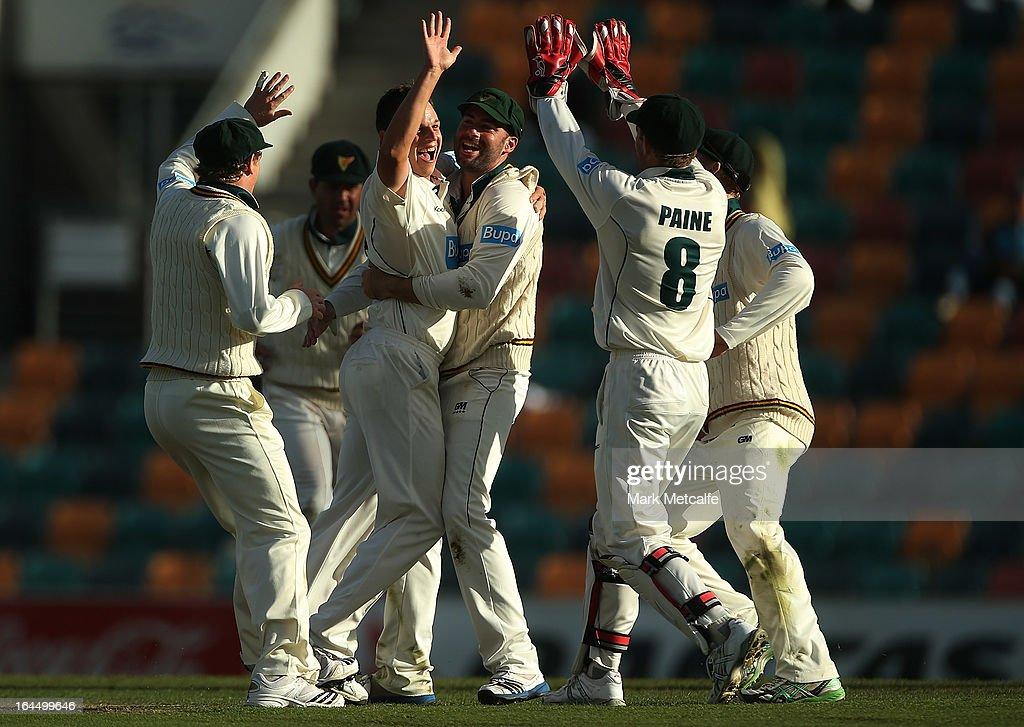 Evan Gulbis of the Tigers celebrates taking the wicket of Peter Forrest of the Bulls during day three of the Sheffield Shield final between the Tasmania Tigers and the Queensland Bulls at Blundstone Arena on March 24, 2013 in Hobart, Australia.