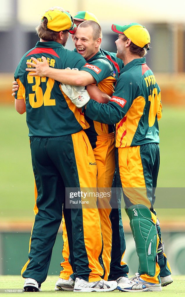 Evan Gulbis of the Tigers celebrates the wicket of Tom Beaton of the Warriors during the Ryobi One-Day Cup match between the West Australian Warriors and the Tasmanian Tigers at the WACA on October 16, 2011 in Perth, Australia.