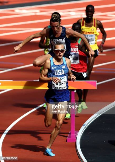 Evan Jager of the United States competes in the Men's 3000 metres Steeplechase heats during day three of the 16th IAAF World Athletics Championships...