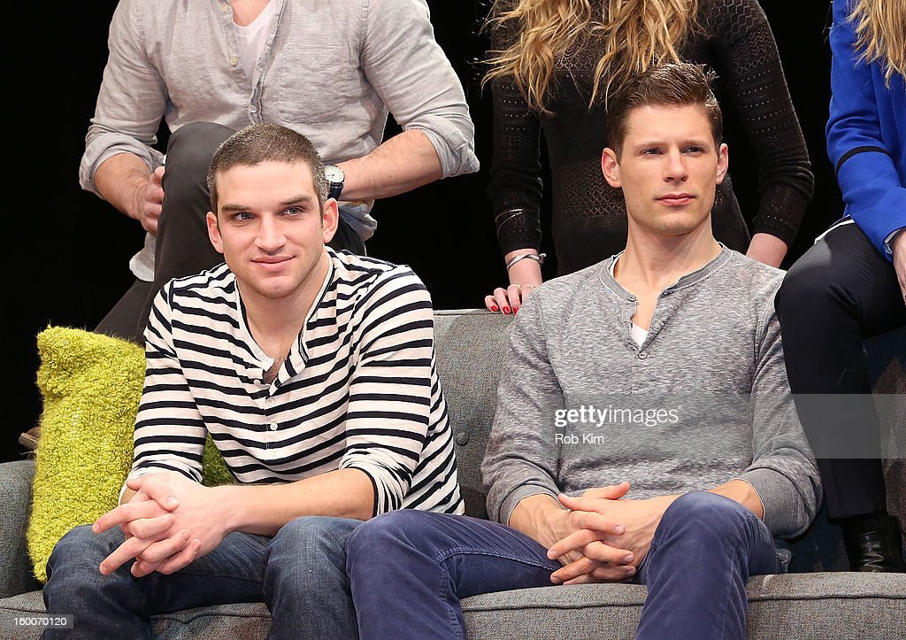 Evan Jonigkeit (L) and Matt Lauria attend the 'Really Really' cast photo call at Lucille Lortel Theatre on January 25, 2013 in New York City.