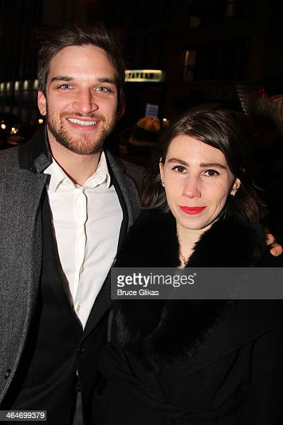 Evan Jonigkeit and Zosia Mamet attend the Broadway opening night of 'Outside Mullinger' at The Samuel J Friedman Theatre on January 23 2014 in New...