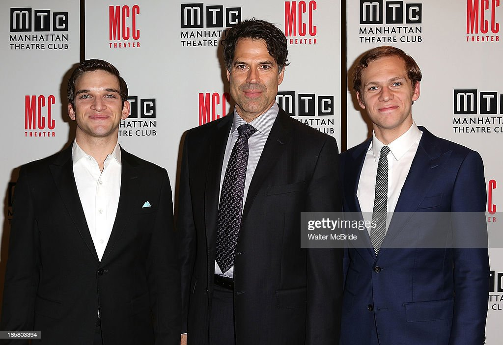 Evan Jonigkeit, Christopher Innvar and Brian Cross attend the Broadway Opening Night After Party for 'The Snow Geese'' at Copacabana on October 24, 2013 in New York City.