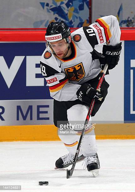 Evan Kaufmann of Germany skates against Sweden during the IIHF World Championship group S match between Sweden and Germany at Ericsson Globe on May 9...