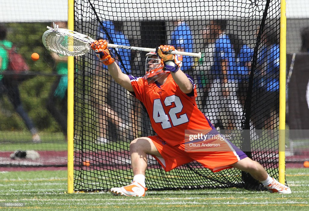 Evan Kirk #42 of the Hamilton Nationals makes a big save against the Charlotte Hounds in a Major League Lacrosse game on May 17, 2013 at Ron Joyce Stadium in Hamilton, Ontario, Canada.