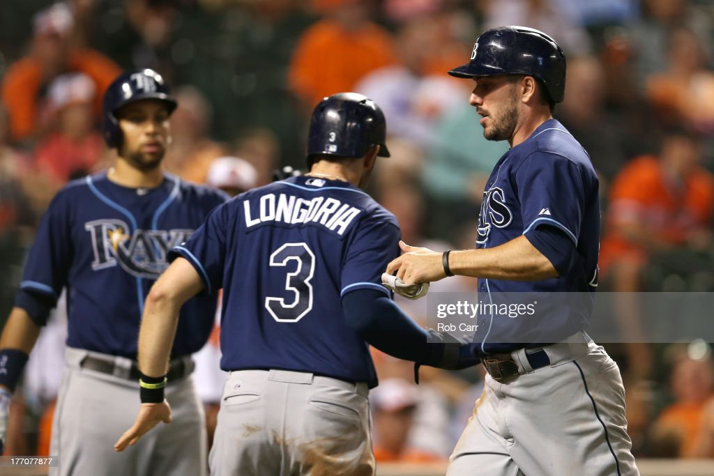 <a gi-track='captionPersonalityLinkClicked' href=/galleries/search?phrase=Evan+Longoria&family=editorial&specificpeople=2349329 ng-click='$event.stopPropagation()'>Evan Longoria</a> #3 and Matt Joyce #20 of the Tampa Bay Rays celebrate after they both scored during the ninth inning of the Rays 7-4 win over the Baltimore Orioles at Oriole Park at Camden Yards on August 20, 2013 in Baltimore, Maryland.