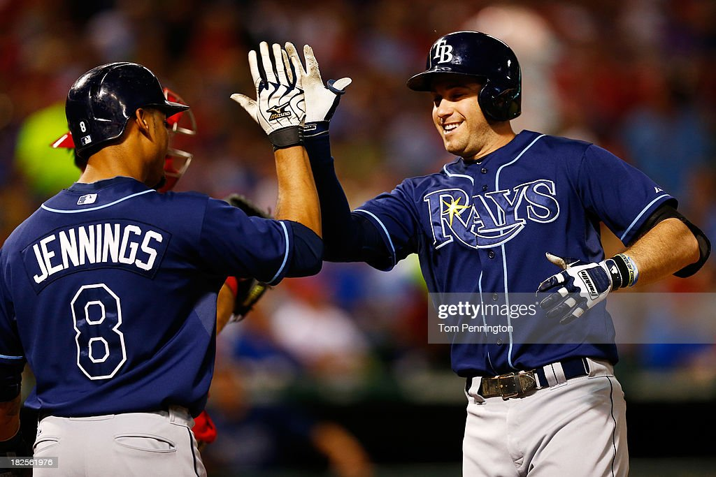 <a gi-track='captionPersonalityLinkClicked' href=/galleries/search?phrase=Evan+Longoria&family=editorial&specificpeople=2349329 ng-click='$event.stopPropagation()'>Evan Longoria</a> #3 celebrates with <a gi-track='captionPersonalityLinkClicked' href=/galleries/search?phrase=Desmond+Jennings&family=editorial&specificpeople=5974085 ng-click='$event.stopPropagation()'>Desmond Jennings</a> #8 of the Tampa Bay Rays after hitting a two-run homerun in the third inning against the Texas Rangers in the American League Wild Card tiebreaker game at Rangers Ballpark in Arlington on September 30, 2013 in Arlington, Texas.