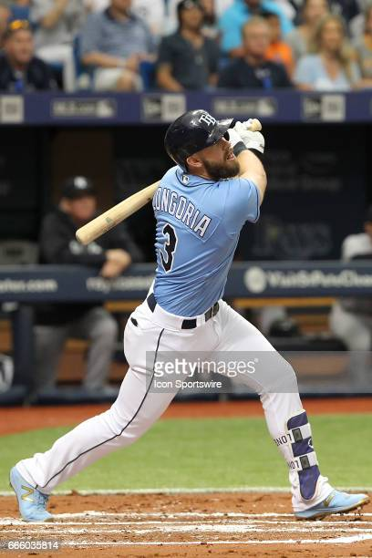 Evan Longoria of the Rays at bat during the MLB regular season game between the New York Yankees and Tampa Bay Rays on April 2 at Tropicana Field in...