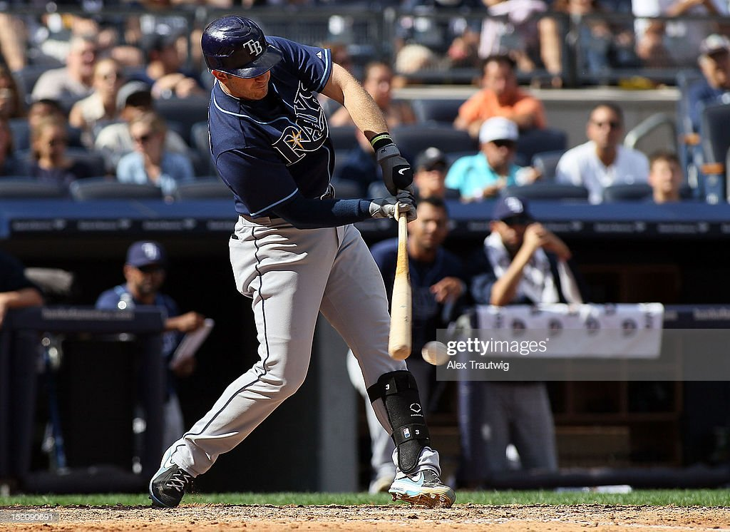 <a gi-track='captionPersonalityLinkClicked' href=/galleries/search?phrase=Evan+Longoria&family=editorial&specificpeople=2349329 ng-click='$event.stopPropagation()'>Evan Longoria</a> #3 of the Tampa Bay Rays bats against the New York Yankees at Yankee Stadium on September 16, 2012 in the Bronx borough of New York City.